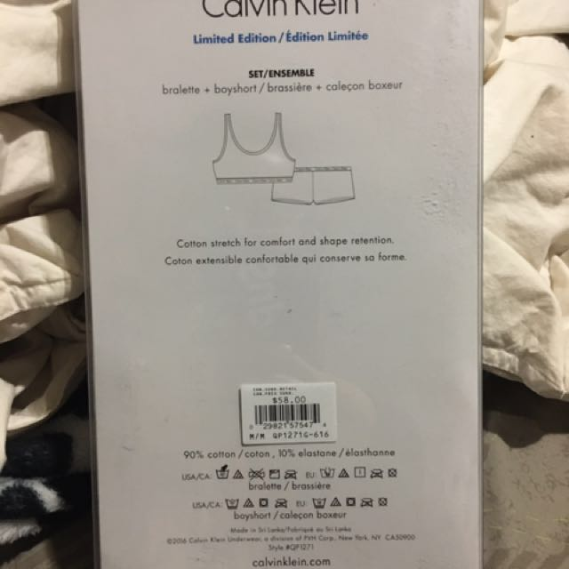Calvin Klein Bralette + Boyshort Set (Women's Medium)