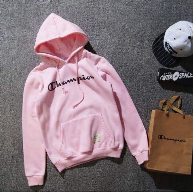 Champion 粉色刷毛帽T (M號)#幫我除舊佈新