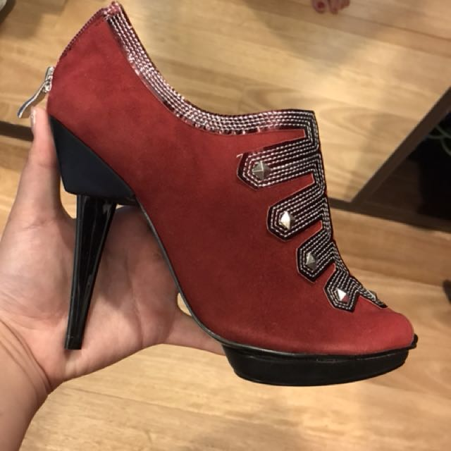 Charles and Keith red ankle boots