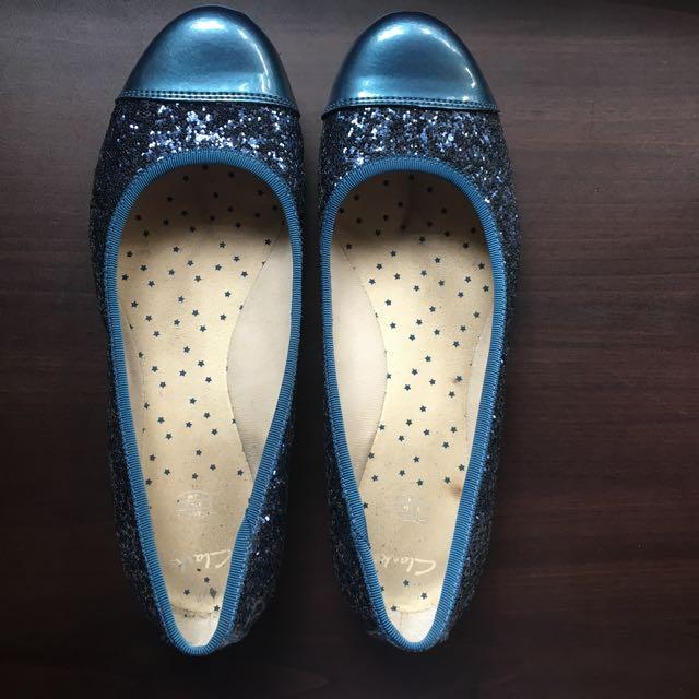 Clarks blue glitter shoes