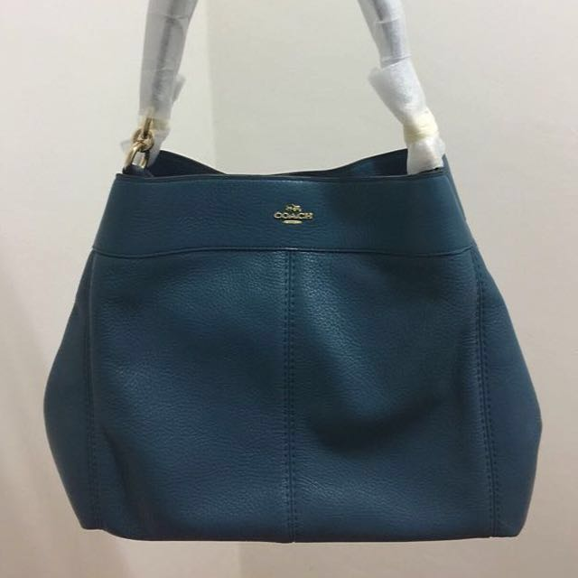 715b887b3c6 COACH LEXY SHOULDER BAG PEBBLE LEATHER IN TEAL (F57545)