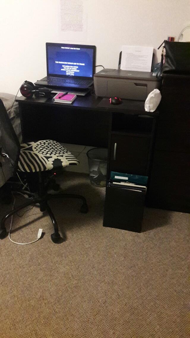Dark brown computer desk