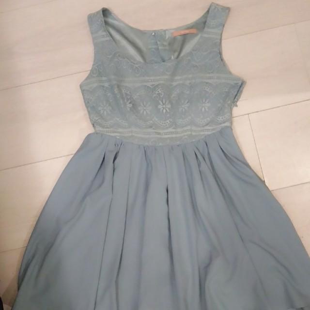 日本帶回正版dazzlin藍灰色氣質洋裝