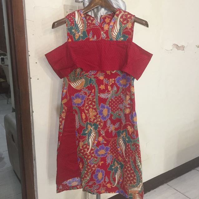 Dress batik merah bahan strech fit to M -XL