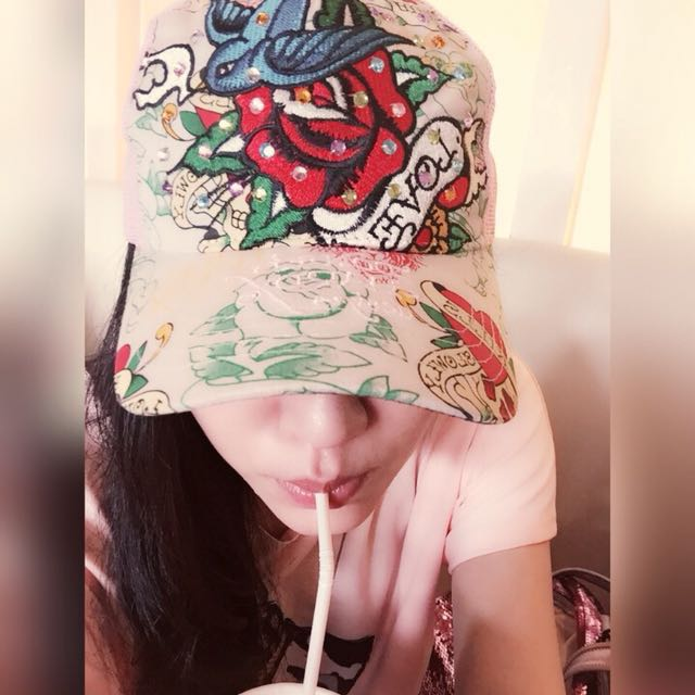 ed hardy玫瑰刺繡帽