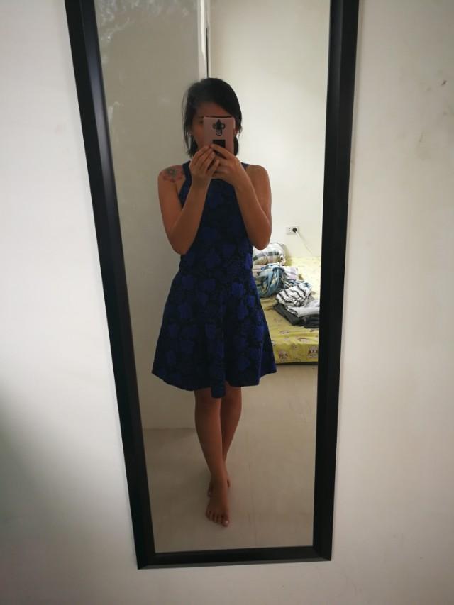 Floral Royal Blue Halter dress