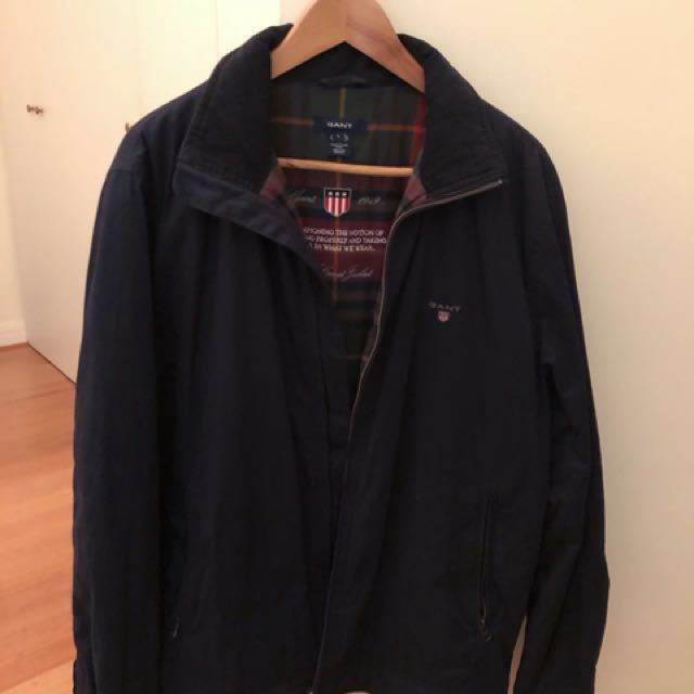 Gant Navy Jacket with Cord Collar and Plaid Lining