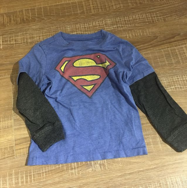 Gap副牌 oldnavy Superman超人假兩件T  三歲 (80賣場任選三件200)