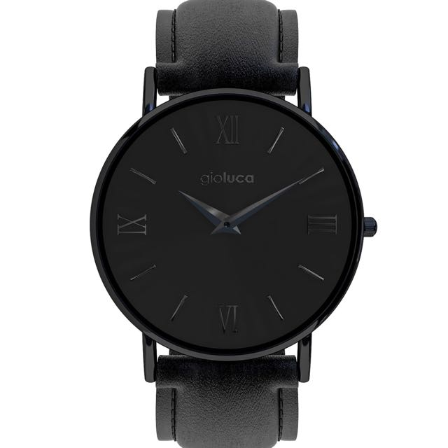 Gioluca Black Leather Watch - Dark Knight