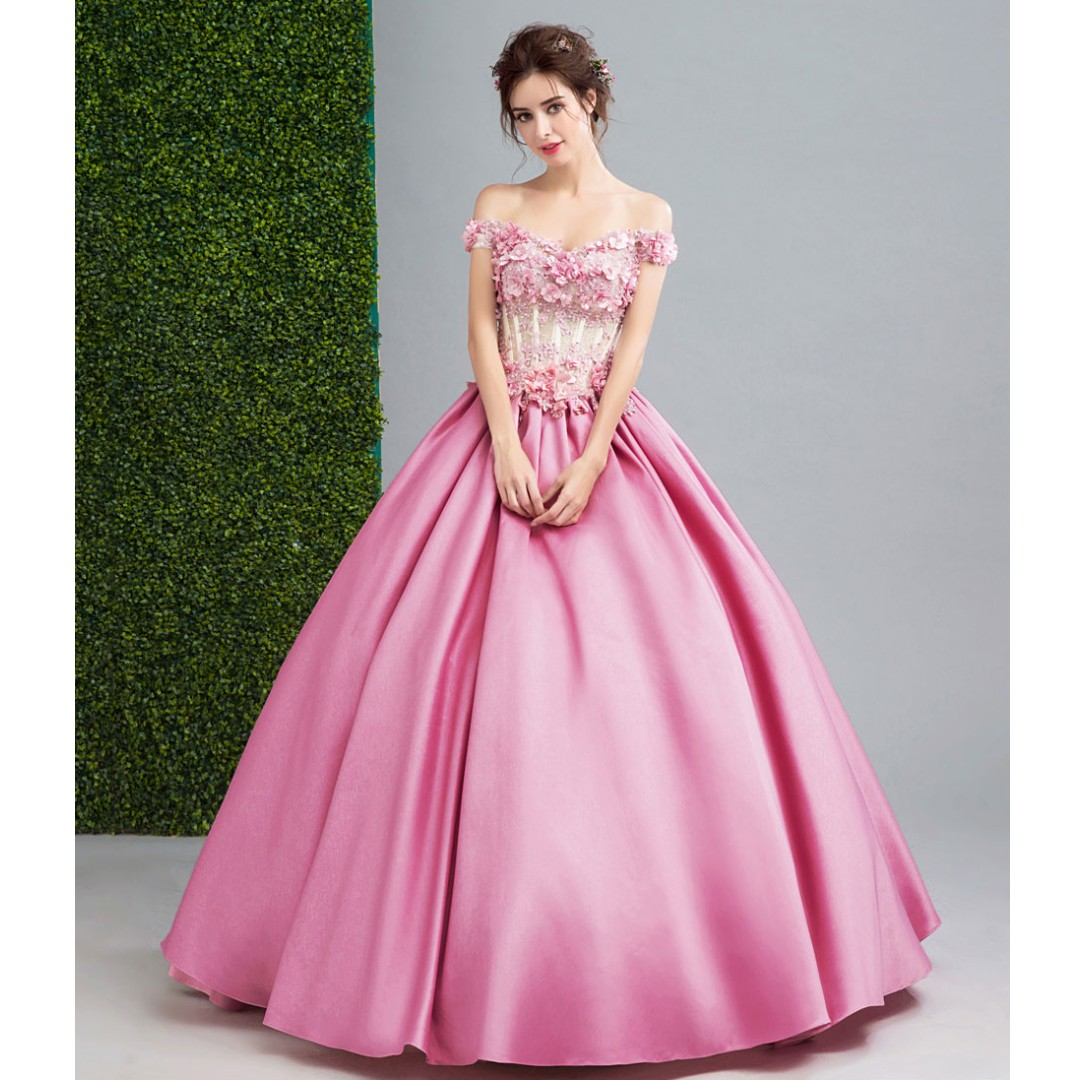 Gown Collection - Barbie Pinky Puffy Sweet Evening Gown, Fesyen ...