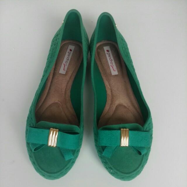Grenda emerald green jelly suede look ballet flats size7