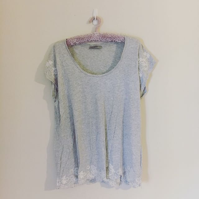 Grey Basic Tee with Cream Embroidered detail