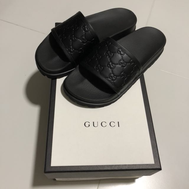 6119400cfdc955 Gucci Signature Black Leather Slides