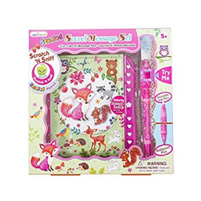 Hot Focus Flower Critter Secret Diary with Passcode Lock and Invisible Ink Pen