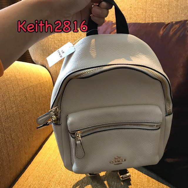 264b60a10 Coach Mini Charlie Backpack in Pebble Leather White, Women's Fashion, Bags  & Wallets on Carousell