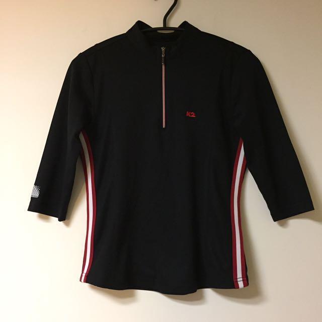 K2 韓國製 登山運動品牌 90's 復古 五分袖 拉鍊上衣