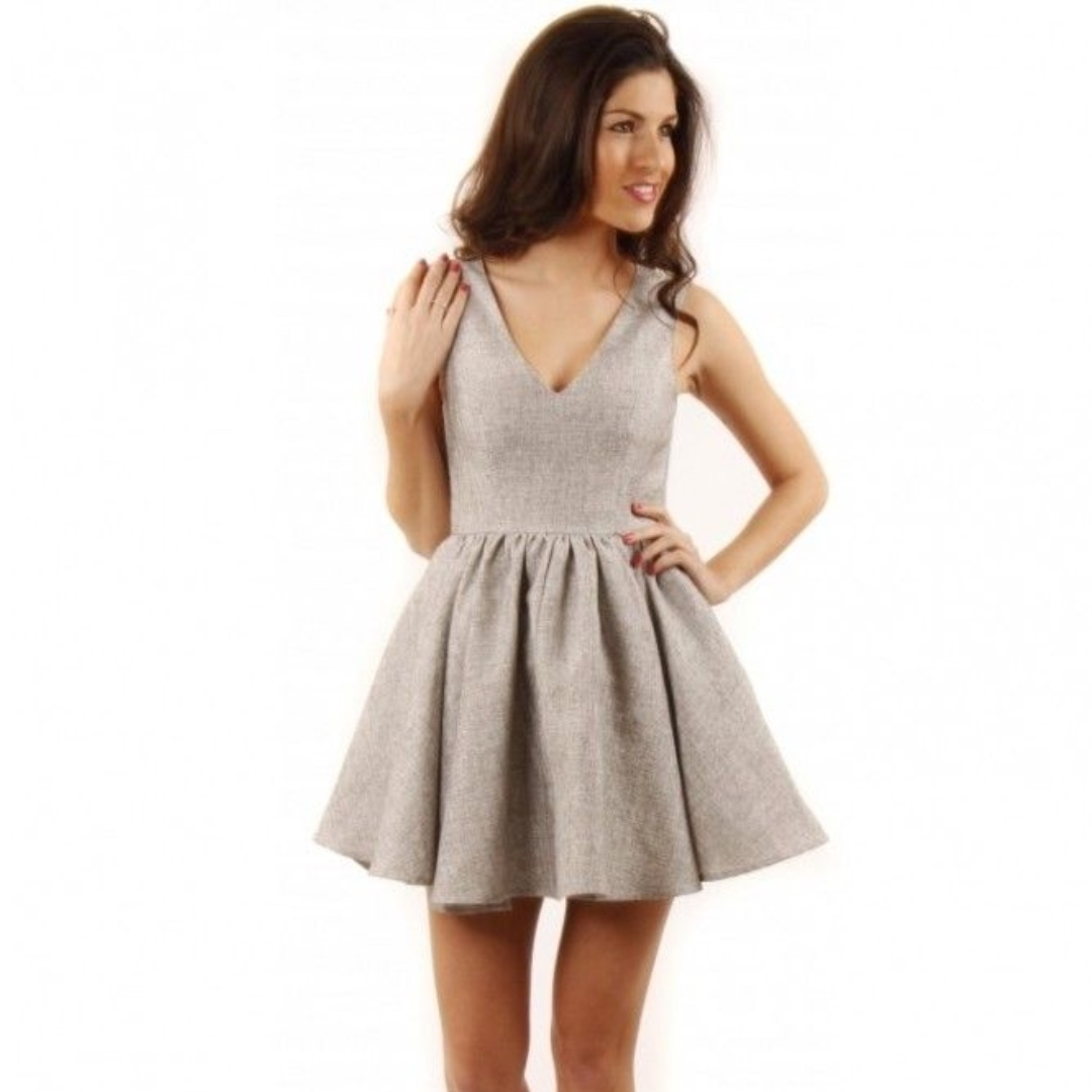 Keepsake Silver Grey Tweed Jacquard Jane Skater Dress