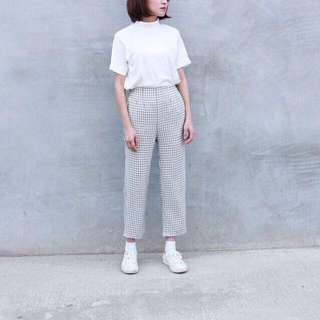 Korea ::: 韓國時髦好搭小格子鬆緊高腰九分褲