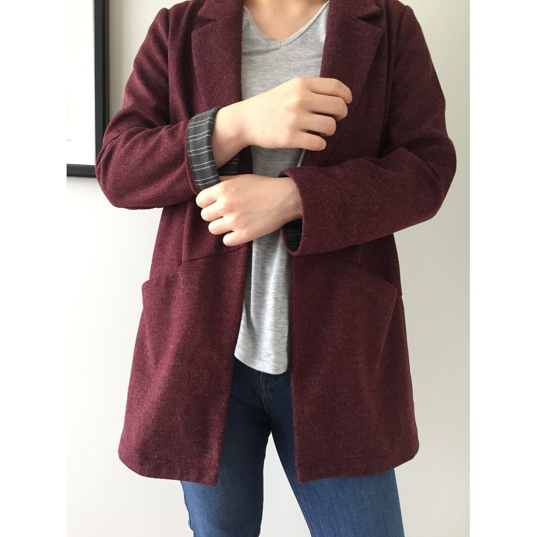 Maroon blazer jacket