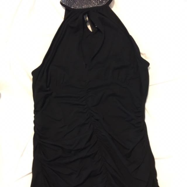 Morgan halter top with rhinestone collar