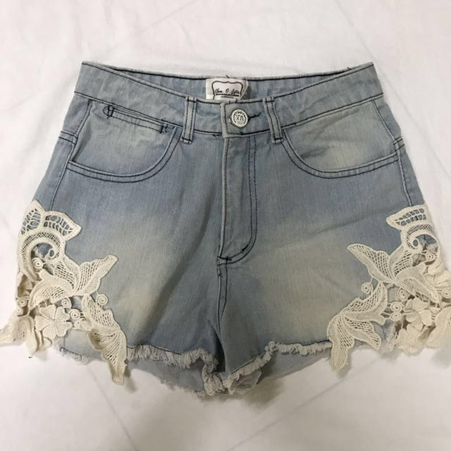 #CNY88 Denim Crochet Shorts