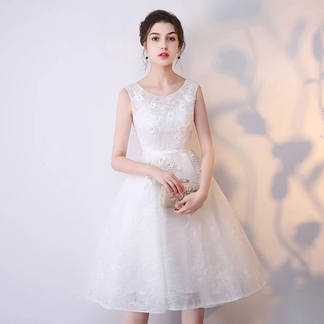 Elegant White Lace Dinner Dress