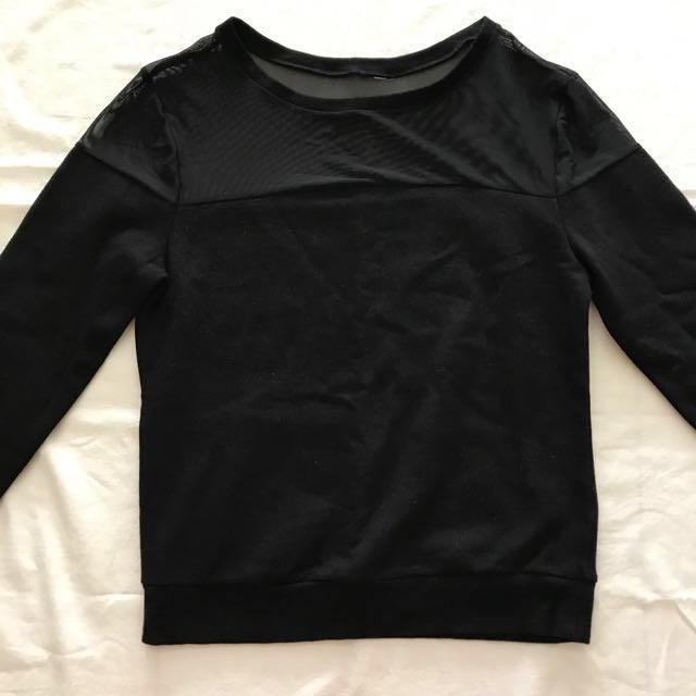 #CNY88H&M Black Mesh Long Sleeves Top