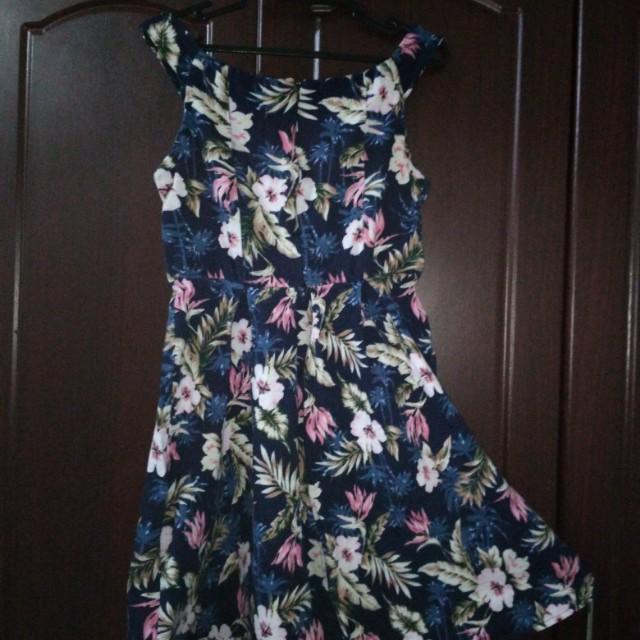 Off Shoulder - Royal Blue Floral Dress