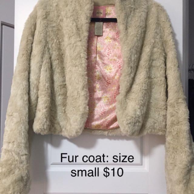 Old Navy crop fur coat