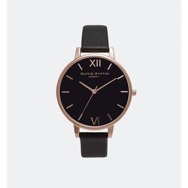 Olivia Burton Black and Gold Watch