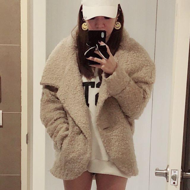 日本one way QQ毛 蝙蝠袖寬鬆外套 駝色