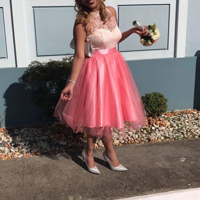 Pink bridesmaid's cocktail dress
