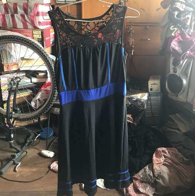 Plus size black and blue dress