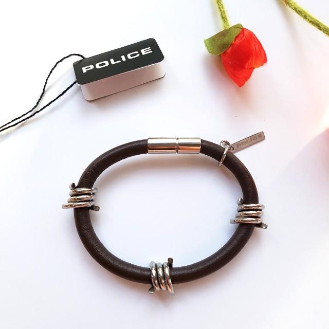 Police Unisex Leather Bracelet