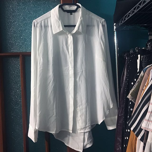 Portmans White Tailed Button Down Top