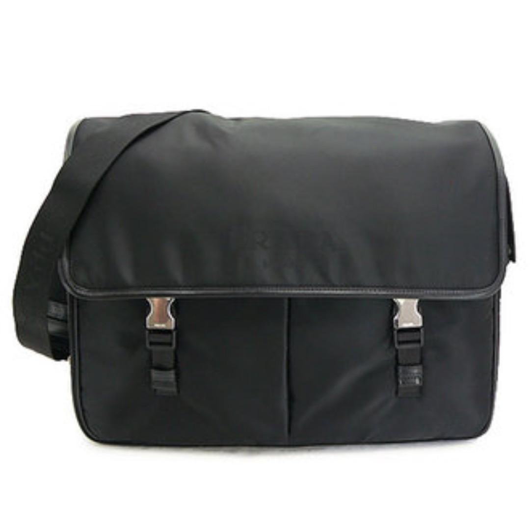 7ffa1904ec39de Prada Black Nylon Laptop Messenger Bag V165, Men's Fashion, Bags ...