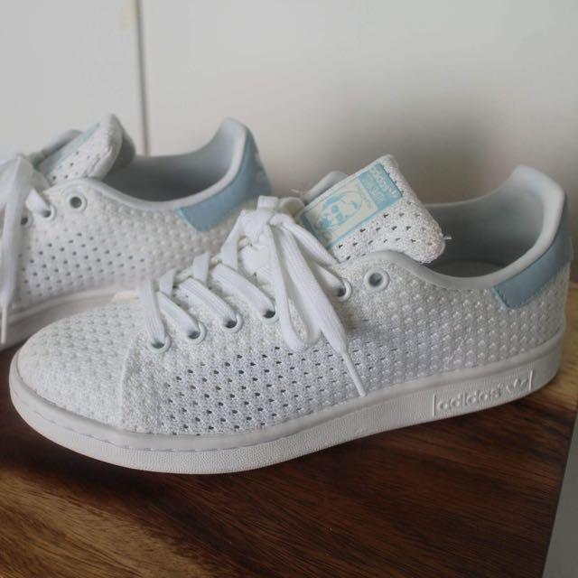 RARE: Adidas Originals Stan Smith White/Blue knit sneakers