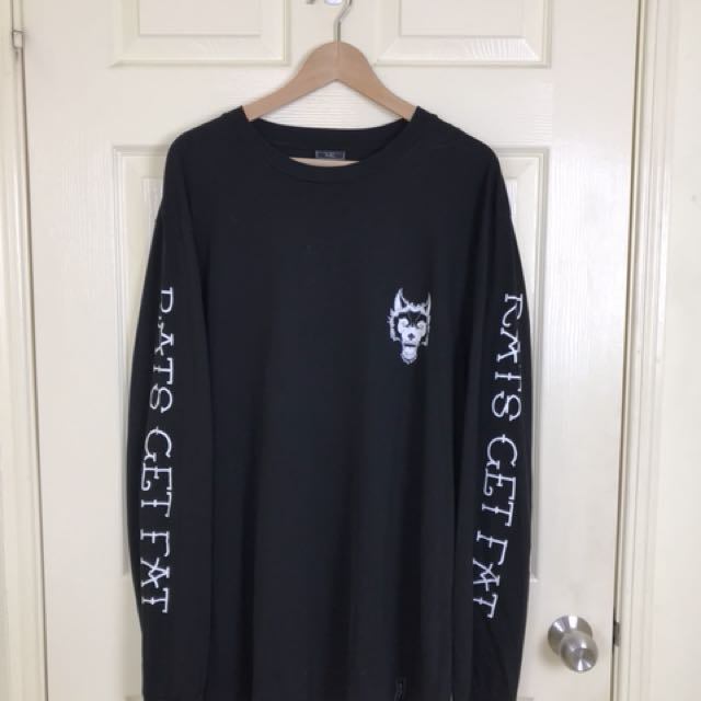 Rats Get Fat Black Long Sleeve T-Shirt - XXL