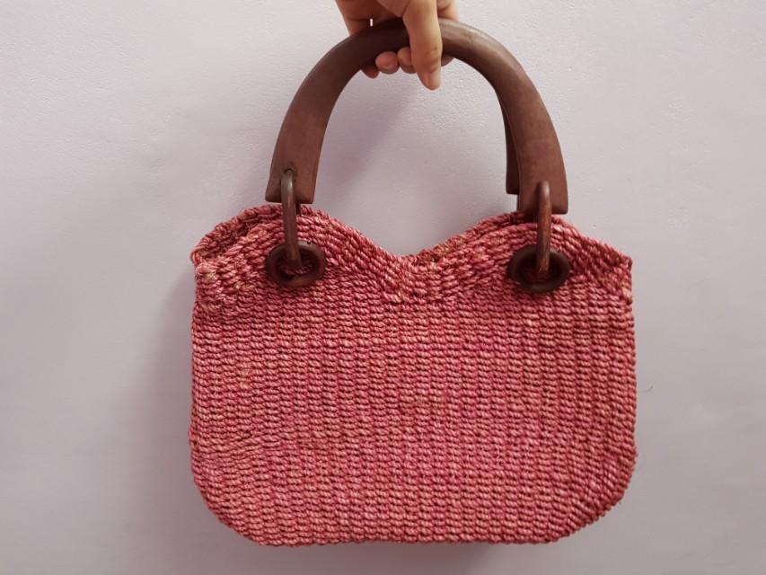 Rattan woven handbag