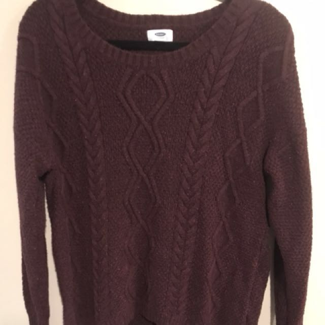 Red Cableknit Pullover - Size Large