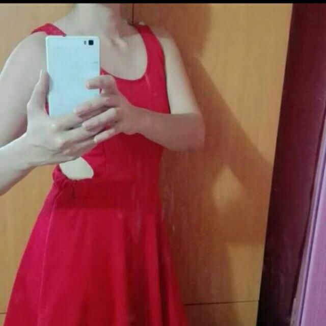 Red Skater Dress W/ Cut Outs