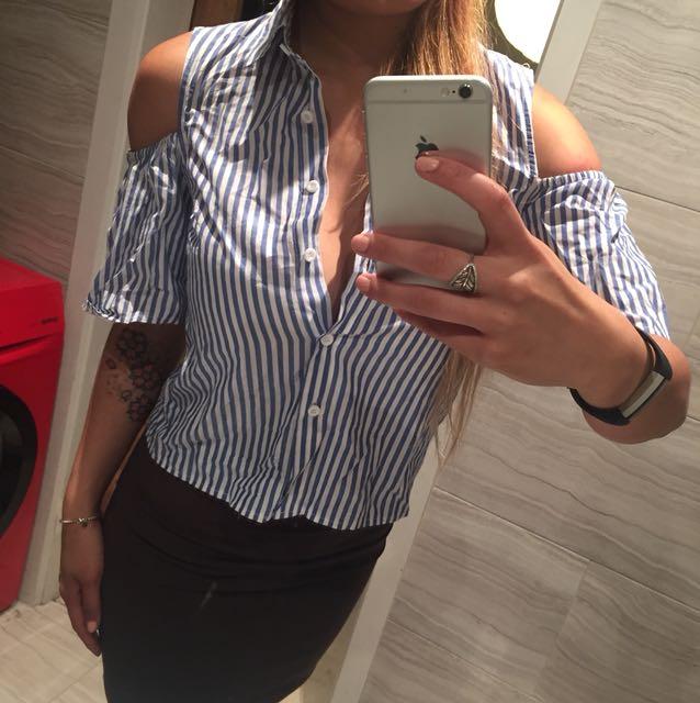 Stripe Collar Cut Out Shirt/Top