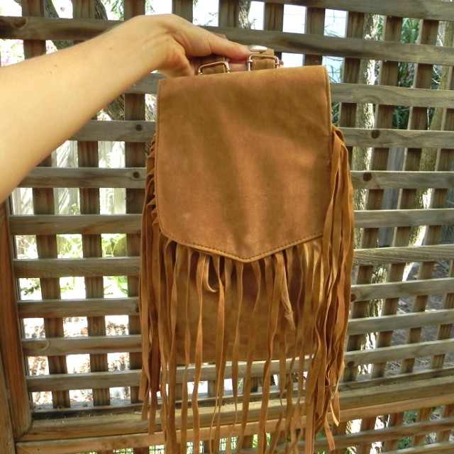 Tan fringe bag