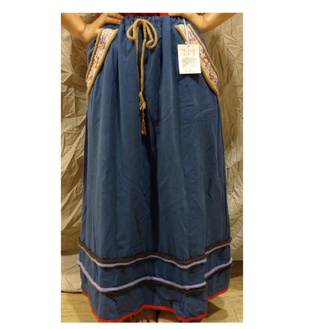 日本『チチカカ』TITICACA 民族風 森林系 刺繡幾何 伸縮綁帶口袋長裙
