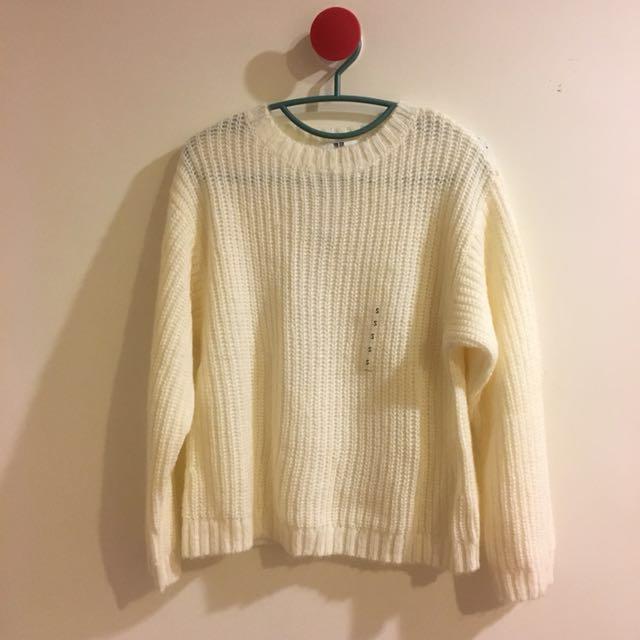 Uniqulo 白色 針織 長袖 毛衣