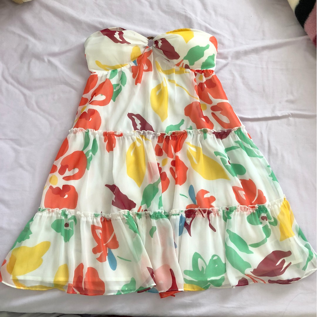 Vacation/Summer Dress (White with Floral Design)