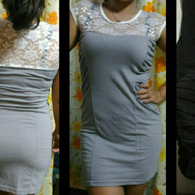 White lace and grey cotton dress