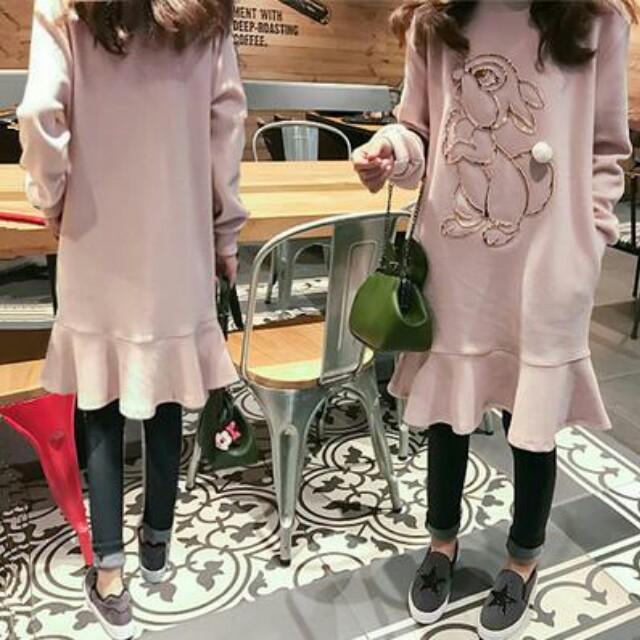 XL~5XL大碼荷葉邊衛衣裙(2色)