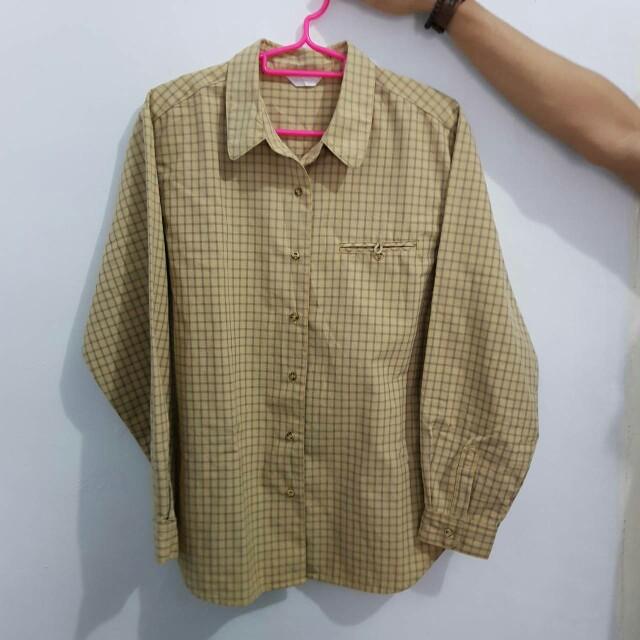 Yellow Grey Tartan Flanel Shirt Top for Women