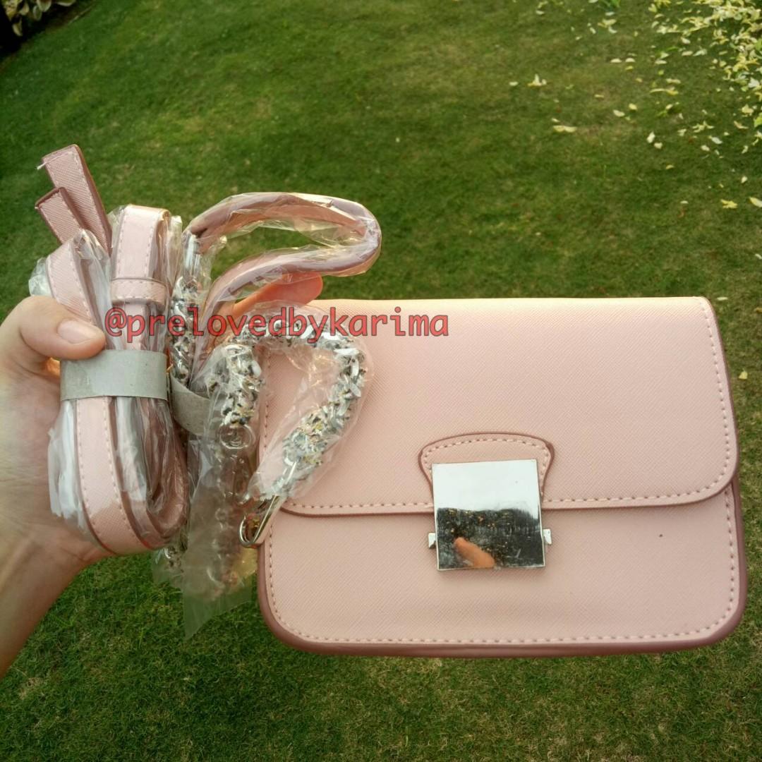 ZARA cross body pink bag with contrasting strap